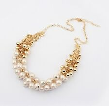 Gold Tone Pearl  & Gold Beads  Choker Chunky Statement Bib Collar Necklace