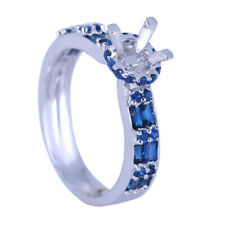 10K White Gold Round 6-6.5mm Genuine Sapphires Semi Mount Setting Wedding Ring