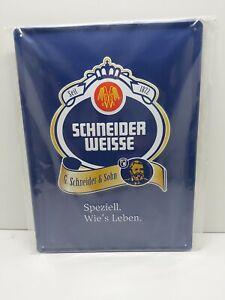 "Schneider Weiss Beer Advertising Rectangle Blue Metal Wall Sign ""Logo"""