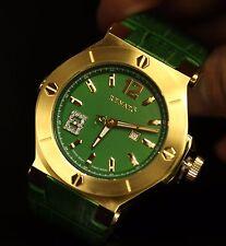 Renato Women's Beauty Swiss Quartz Diamond Accented Gold Tone SS Green Watch NEW