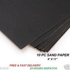 "10PC SANDPAPER WET & DRY 9"" x 11"" SANDING COURSE MEDIUM FINE EXTRA FINE GRITS"