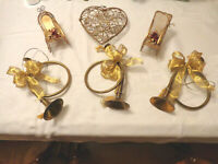Christmas tree ornaments Large gold metal filigree 3 french horn 3 sleighs heart