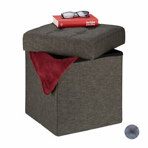 Cube Storage Ottoman, Quilted Folding Footstool, Padded Toy Chest