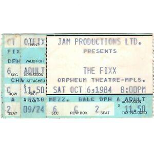 THE FIXX & ANDY FRASER Concert Ticket Stub MINNEAPOLIS MN 10/6/84 ORPHEUM Rare