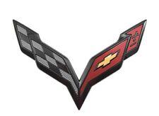 C7 Stingray Corvette OEM Front ONLY Bumper Carbon Flash Flags Emblem Black