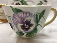 SHELLEY'S  DAINTY  PANSY * YELLOW TRIM  *  CUP AND SAUCER   # 13823