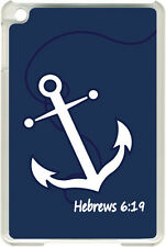 Navy Blue Faith Anchor with Hebrew 6:19 iPad 2/3/4 Black/White Case Cover