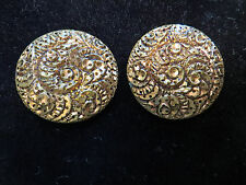 New listing Vintage Collector Button Lot-2 Unusual Pierced Metal Swirl Design Tiny Holes