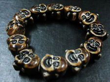 male tibet jewelry Monk smile Face Arhat Head Buddha Bead bracelet N