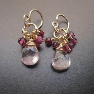Rose Quartz, Garnet Wire Wrapped Gemstones Dangle Earrings