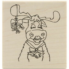 "Inky Antics Mounted Rubber Stamp 2.5""X2.5""-Kissing Moose"