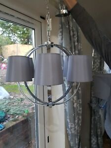 *Laura Ashley Chrome Globe 6 Light Chandelier with Grey Shades NEW Rrp £250*