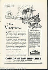 1930 CANADA STEAMSHIP LINES advertisement, early ships, Voyageurs