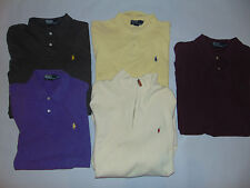 5) Polo by Ralph Lauren Mens Polo Shirts Sweater Purple Cream LARGE XL XXL LOT
