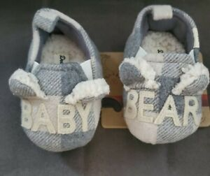 NEW Dearfoams Baby Bear Memory Foam Slippers CREAM Plaid Size 3-6 Months