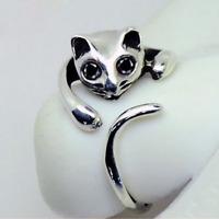 HOT Gold Silver Animal Cat Shaped Adjustable Ring Rhinestone Eyes Resizeable