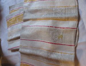 1910-20 German Damask Linen kitchen/tea towel/runner flowery pattern stripes + s