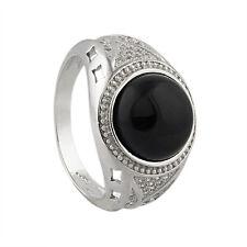 Silber Ring 925 Sterlingsilber mit 32 Zirkonen runder Onyx Stein Gr.26 NEUWARE