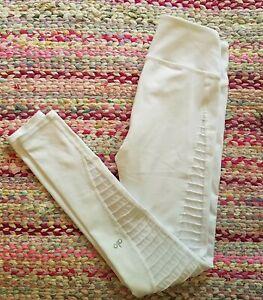 Alo Yoga Women's White Mesh Panel  Athletic Leggings Size XXS