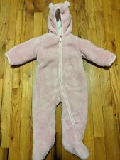 EUC Children's Place Baby Girl Adorable Pink Bear Snow Suit, Size 12-18 Months