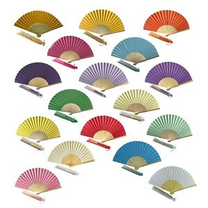 Wholesale Pack of 10 Mixed Colour Paper Hand Fans Bamboo Ribs Hand Fans