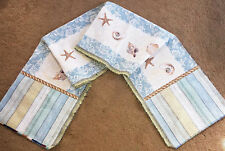 "Seashells By The Seashore Crafters 72"" Tapestry Table Runner Fabric Remnant"