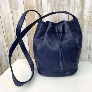 CROUCH & FITZGERALD Navy Blue Textured Leather Drawstring Bucket Purse Italy VTG