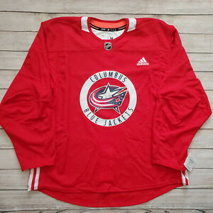 Adidas Columbus Blue Jackets Authentic Practice Jersey Red CR4002 Men's Size 58