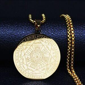 Witchcra Heptagram Pendant Necklace Stainless Steel Seven Archangels Men Jewelry