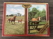 Vintage NEW Congress Playing Cards Cel-U-Tone Finish 2 Deck Horses Sealed Pack