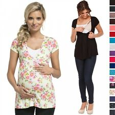 Happy Mama. Women's Maternity Nursing Top Stretch Short Sleeve Tunic 8-18. 373p