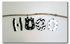 Monochrome Name Banner, Fabric letters, Baby Name, Nursery decor,Black&White