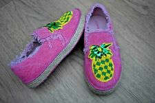 Pineapple Girls//Ladies Slip On Pink QualityCanvas Shoes//Pump UK13 Kids-Uk5 Large