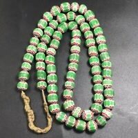 Vintage Venetian Trade Old African Glass Layer Green Chevrons Beads Necklace #77