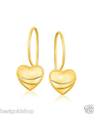 Ridged Puffed Heart Dangle Drop Earrings Lever Back Real 14K Yellow Gold