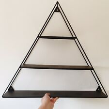 Large Metal Modern Wall Mounted 3 Tiered Triangle Floating Wall Shelf