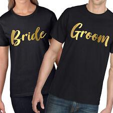 Bride Groom GOLD Matching Couples T Shirt Valentines Gift Wedding Top Queen 867
