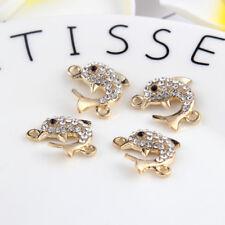 10pcs Gold Dolphin Beads Connector Rhinestones Fit DIY Bracelet 19*15mm
