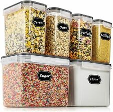 Airtight Food Storage Container Set Plastic Cereal Storage 7 PCS-Labels & Marker