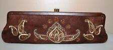 Lambertson Truex Suede Leather Embellished Clutch Bag Purse