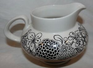 Wildwood Staffordshire England Hand Engraved Ironstone Creamer Black/White #4407