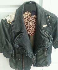 Dereon Womens Cropped Denim Jacket  w Fleur de Lis Applique on Back