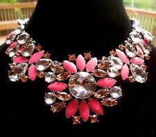 RARE! Kate Spade PLATINUM Coral Pink Frosty Floral Short Necklace NWOT BRIDAL