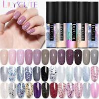 LILYCUTE 5ML Soak Off UV Gel Nail Polish Glitter Gel Varnish  Basetop Coat