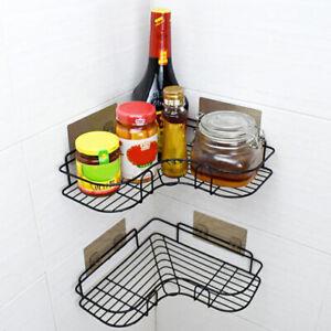 Punch Free Corner Bathroom Shelf Bathroom Fixtures Wrought Iron Storage Rack B