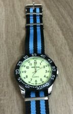 Geneva Mens Watch Round Glow in Dark Dial Easy to Read on Nylon Striped Band New