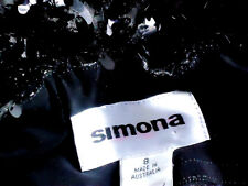 SIMONA NudeLinedLgBlackSequinNetBallGownorp$499Size8
