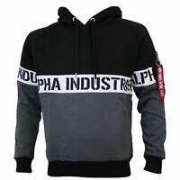 Alpha Industries Herren Sweatshirt AL STRIPE HOODY black in Größe M bis 3XL
