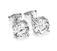 Silver Round 6mm Earrings Embellished with Crystals from Swarovski®