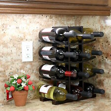 Wooden Wine Rack 12 Bottle Bar Kitchen Storage Liquor Holder Home Decor